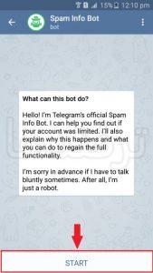 آموزش رفع ریپورت تلگرام با ربات Spam Bot