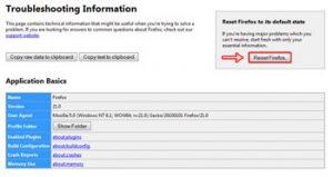 ریست کردن فایرفاکس